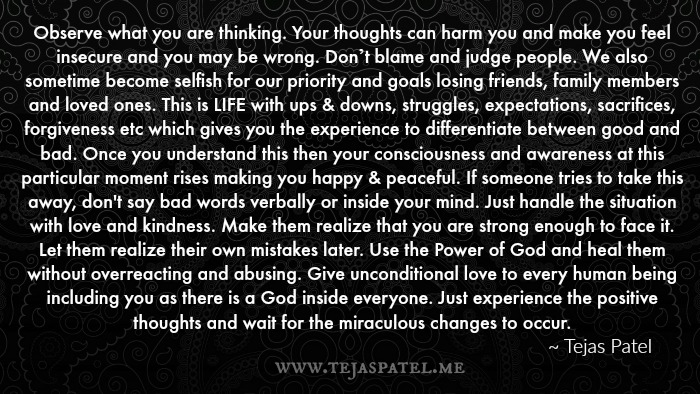 Observe what you are thinking